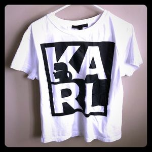 Karl Lagerfeld T Shirt Small Womens White Black
